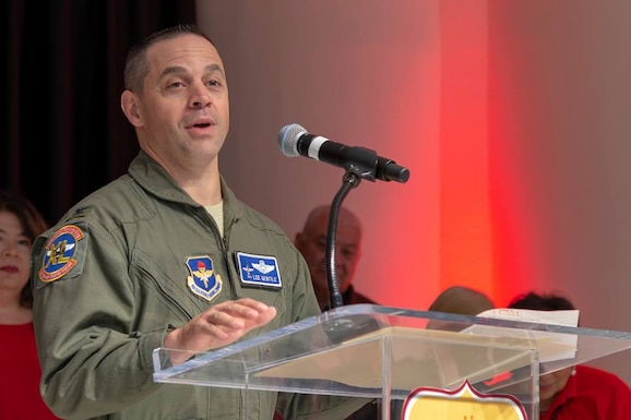 Col. Lee Gentile, 47th Flying Training Wing commander, speaks during the H-E-B 26th annual Feast of Sharing at Del Rio, Texas, Nov. 11, 2018. The event, which gives a warm, full course Thanksgiving meal to anyone who desired, took time to thank those who help defend, or have defended, this great nation.