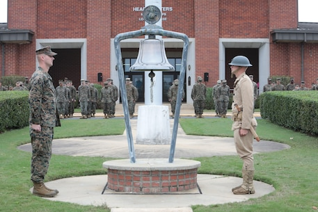 Marines aboard Marine Corps Logistics Base Albany commemorated 100-year anniversary since the end of WWI with a bell ringing ceremony, November 9. (U.S. Marine Corps photo by Re-Essa Buckels)