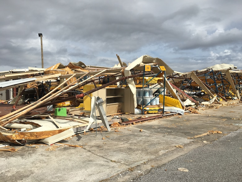 A destroyed civil engineering building on Tyndall Air Force Base, Florida, was among 1,165 environmental assets evaluated by an environmental recovery assistance team Nov. 5 – 9.