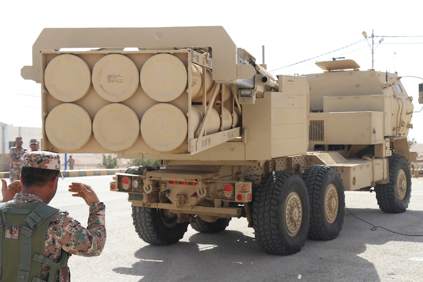 A Solider with the 29th High Mobility Artillery Rocket System (HIMARS) Battalion unloads a rocket pod from a HIMARS during exercise Black Oryx, in Amman, Jordan, Oct. 24, 2018. Black Oryx, an annual bilateral exercise, is designed to strengthen relationships and military capabilities between the U.S. and Jordan Armed Forces.