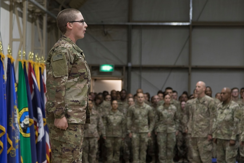 U.S. Army Cpl. Julie C. Sargent, assigned to 20th Engineer Brigade, leads U.S. Army Central Basic Leader Course class 18-170 in reciting the Creed of the Noncommisioned Officer during a graduation ceremony, October 17, 2018, at Camp Buerhing, Kuwait. Sargent was the recipient of the Staff Sgt. William J. Beardsley Jr. Leadership award for the course.