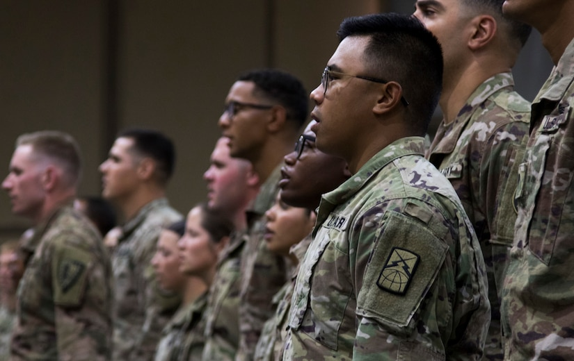 A U.S. Army Soldier recites the Creed of the Noncommissioned Officer at a graduation ceremony for U.S. Army Central Basic Leader Course class 18-170 at Camp Buehring, Kuwait, Oct. 17, 2018. The graduates will return to their deployed units as more capable Soldiers, prepared for leadership positions.