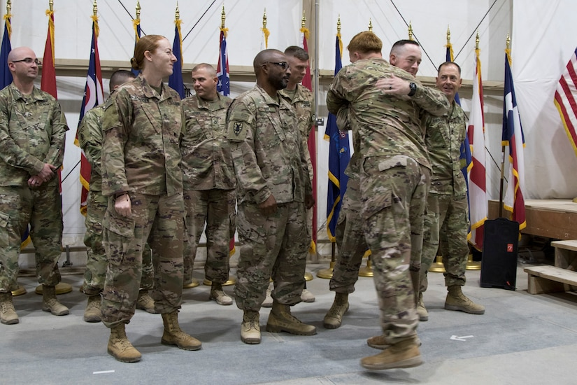 Instructors from the U.S. Army Central Noncommissioned Officer Academy congratulate U.S. Army Soldiers graduating from the latest Basic Leader Course held at Camp Buehring, Kuwait, Oct. 17, 2018. Completing BLC is an essential task which prepares Soldiers to be more capable noncomissioned officers.