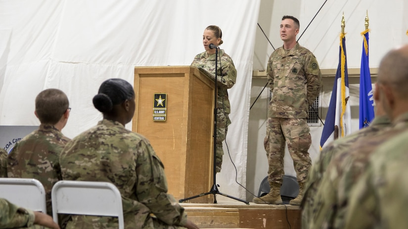 U.S. Army Command Sgt. Maj. Donna Ortiz, commandant of the Camp Buehring Noncommissioned Officer Academy, congratulates the newest class of Soldiers to complete the Basic Leader Course at Camp Buehring, Kuwait, Oct. 17, 2018. The NCOA in Camp Buehring increases the capabilities of deployed units by providing an opportunity to train and prepare Soldiers for leadership positions while overseas.