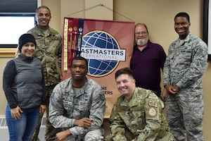 The 341st Missile Wing Toastmasters pose for a picture Nov. 7, 2018, at Malmstrom Air Force Base, Mont.