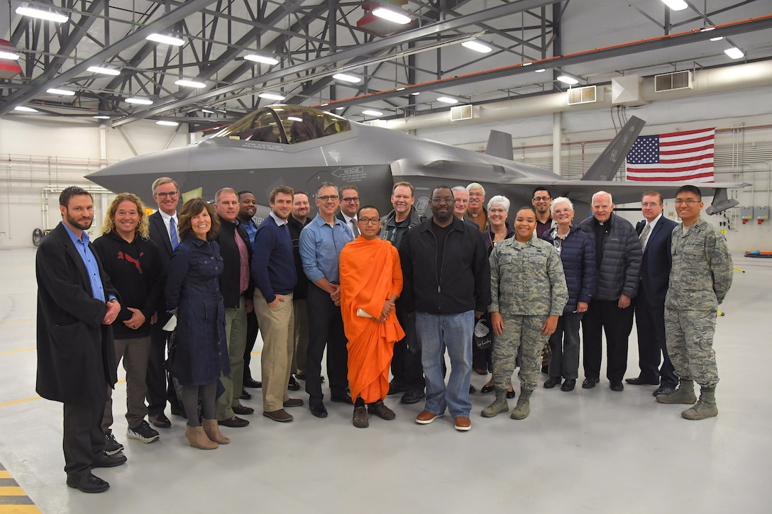 Religious leaders from surrounding communities during a visit to Hill Air Force Base, Utah, Nov. 7, 2018. The visit was part of an annual base chapel event called Clergy Day, which is designed to strengthen ministry partnerships with nearby faiths and to expand spiritual support and services for Airmen stationed at Hill. ( U.S. Air Force Photo by Todd Cromar)