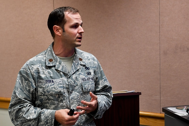 Maj. Ryan O'Dea, 437th Aircraft Maintenance Squadron maintenance operations officer, gives a briefing during the Flight Commander's Edge course, Nov. 7, 2018, at Joint Base Charleston, S.C.