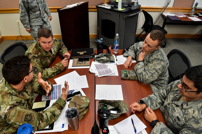 Students engage each other during a group discussion portion of the new Flight Commander's Edge course, Nov. 7, 2018, at Joint Base Charleston, S.C.