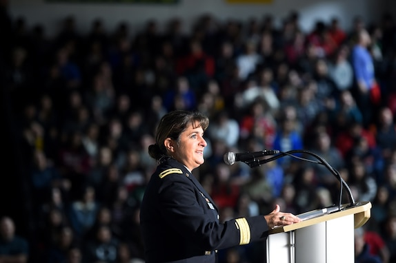 U.S. Army Reserve Brig. Gen. Kris. A. Belanger, Commanding General, 85th Support Command, gives remarks during the Elk Grove High School Veterans Day ceremony, Nov. 9, 2018.
