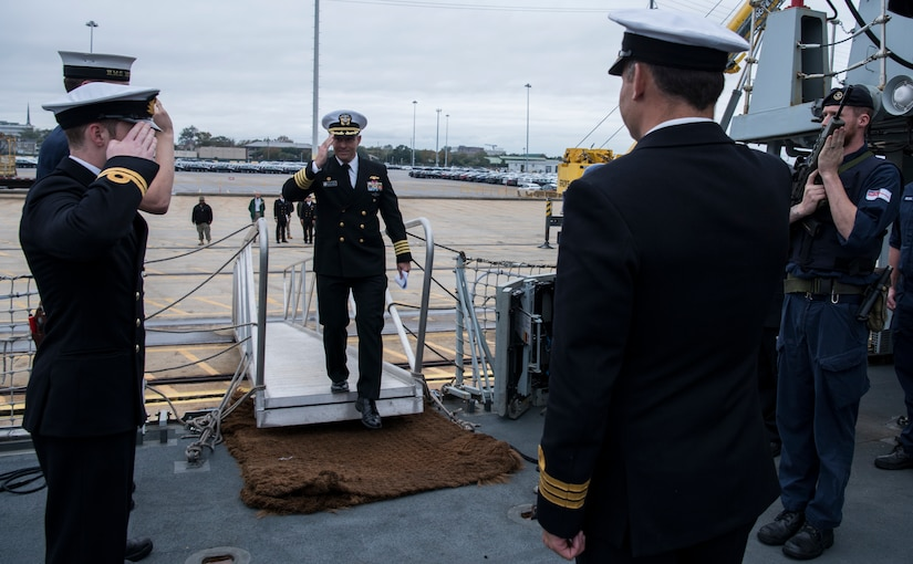 U.S. Navy Capt. Kevin Byrne, Joint Base Charleston deputy commander, walks aboard the HMS Monmouth during the ship's visit Nov. 8-12, 2018, at the Port of Charleston. The British Royal Navy ship hosted several events throughout Veterans Day weekend engaging with Charleston's military and civilian leadership.