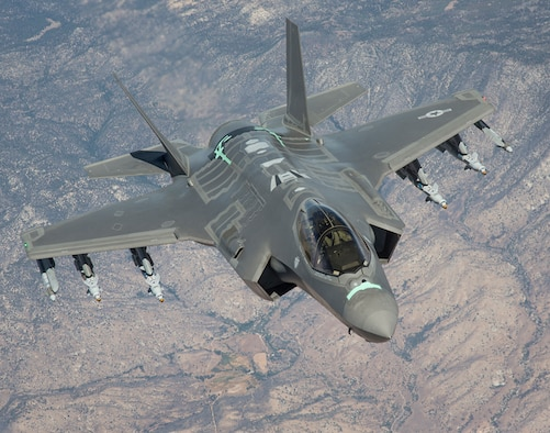 An F-35 Lightning II from the 461st Flight Test Squadron at Edwards Air Force Base, California, soars over the Mojave Desert on a test sortie. (Courtesy photo by Chad Bellay/Lockheed Martin)