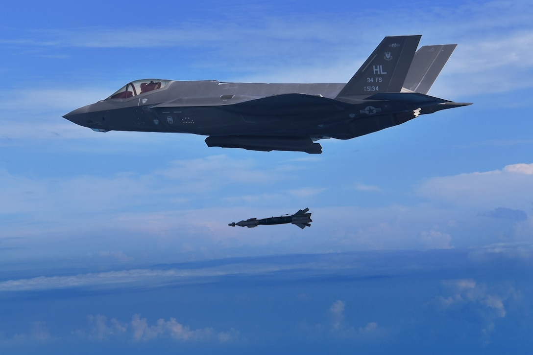 A pilot assigned to the 388th Fighter Wing's 34th Fighter Squadron drops a GBU-49 bomb from an F-35A Lightning II Nov. 7. 2018. The 34th FS is the first unit to employ the GBU-49 in combat training. The squadron recently completed a Combat Hammer weapons evaluation exercise at Eglin Air Force Base, Florida. Pilots say the GBU-49 is effective and accurate and will make the F-35A even more lethal. (Courtesy Photo by 86th Fighter Weapons Squadron)