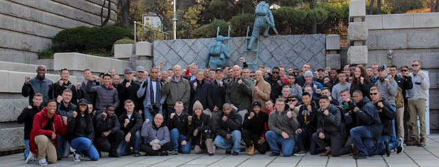 INCHEON, Republic of Korea – U.S. Marine Corps Forces Korea and a detachment from Communications Squadron 18 visit the memorial of the Inchon Amphibious Landing Memorial Museum in Incheon during a historical tour for the U.S. 1st Marine Division's Inchon landing here, Nov. 14. Marine veteran Ned Forney led the tour and is a historian as well as the son of Col. Edward Forney, the  who helped plan the landing on Sept. 15, 1950.