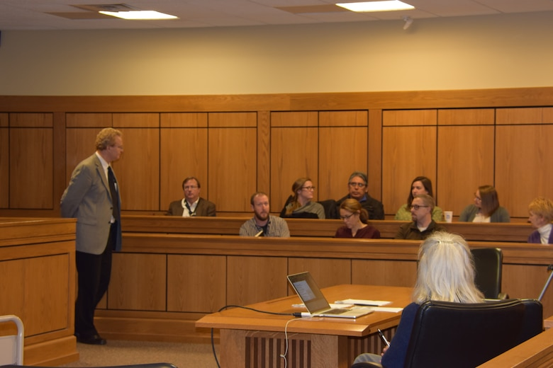 Buffalo District employees participated in an event at University at Buffalo for Geography Awareness Week, focusing on ways students think the Cattaraugus Creek Watershed can be improved, November 13, 2018.  This photo shows the stakeholders sitting in the jury area of the court room and responding to a presentation the students just completed.