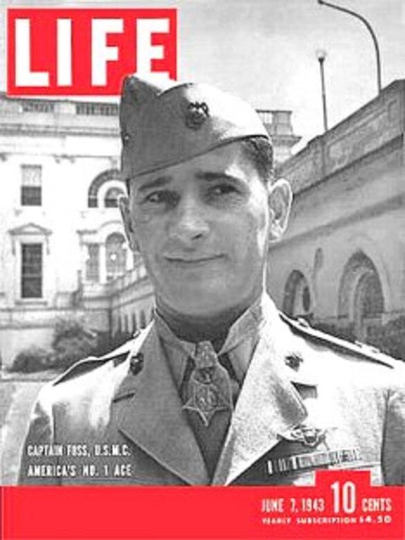 """Life"" magazine cover featuring Joseph Foss in uniform."