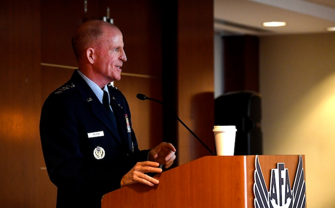Air Force Vice Chief of Staff Gen. Stephen W. Wilson delivers remarks during an Air Force Association Breakfast in Arlington, Va., Nov. 14, 2018. In his remarks, Wilson highlighted the importance of taking a whole-of-nation approach to expanding the competitive space. (U.S. Air Force photo by Staff Sgt. Rusty Frank)