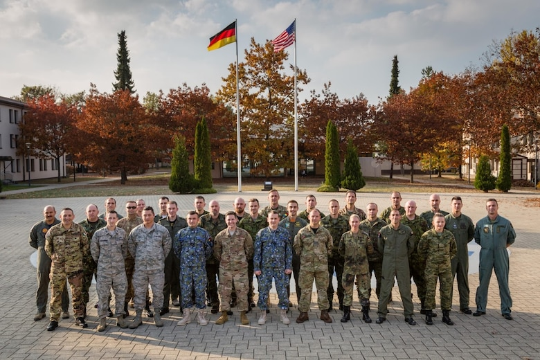 IEAFA Class 19A poses for a group photo on Kapaun Air Station, Germany.  The class was composed of 19 officers and 13 enlisted personnel from 14 NATO and Partnership for Peace countries. (Courtesy photo)