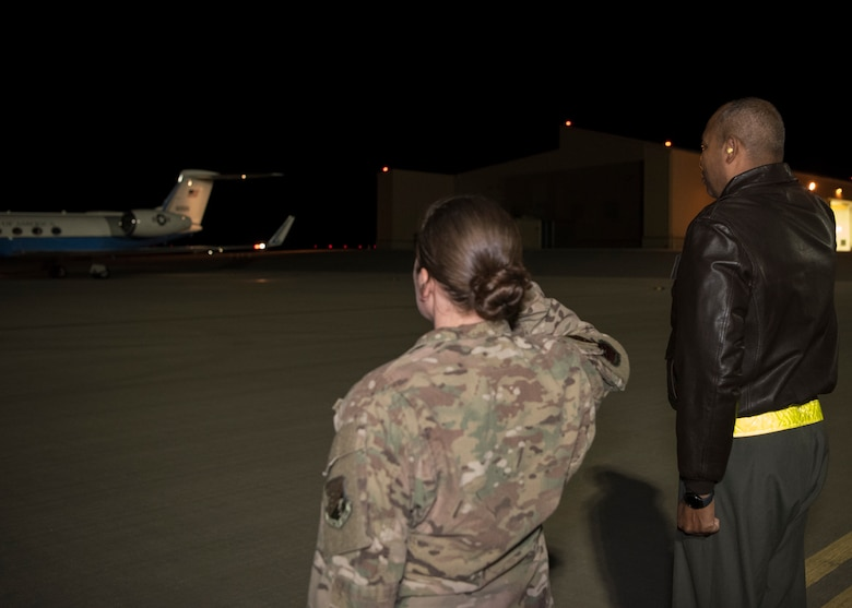 (From left to right) Tech. Sgt. Whitney O'Neill, 49th Wing protocol specialist and Col. Brian Patterson, 49th Wing vice commander, greet the vice chairman of the Joint Chiefs of Staff, upon his arrival at Holloman Air Force Base, N.M., November 13, 2018. Gen. Paul Selva, VCJCS, visited Holloman and White Sands Missile Range November 13 to 14 (U.S. Air Force photo by Staff Sgt. BreeAnn Sachs).