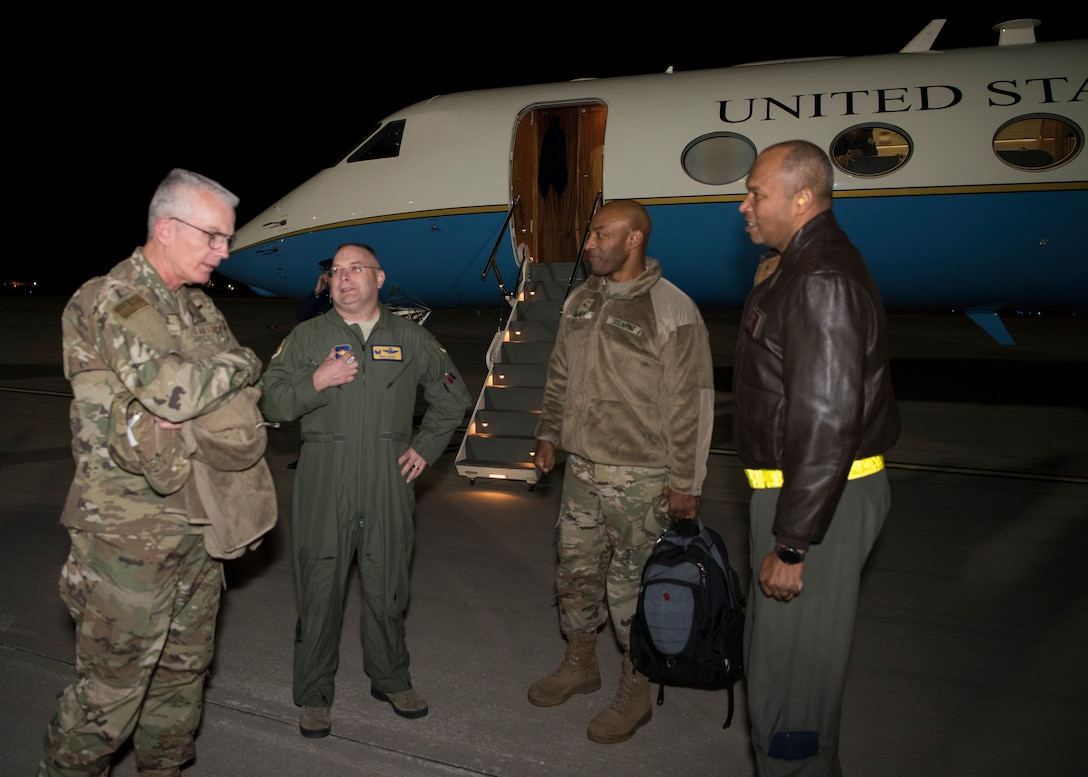 (From left to right) Gen. Paul Selva, vice chairman of the Joint Chiefs of Staff; Col. Michael Boger, 54th Fighter Group commander; Brig. Gen. Sean Gainey, deputy director for Force Protection, J-8, Joint Staff and Col. Brian Patterson, 49th Wing vice commander, speak after Selva's arrival to Holloman Air Force Base, N.M., November 13, 2018. Selva visited Holloman and White Sands Missile Range November 13 to 14. (U.S. Air Force photo by Staff Sgt. BreeAnn Sachs).