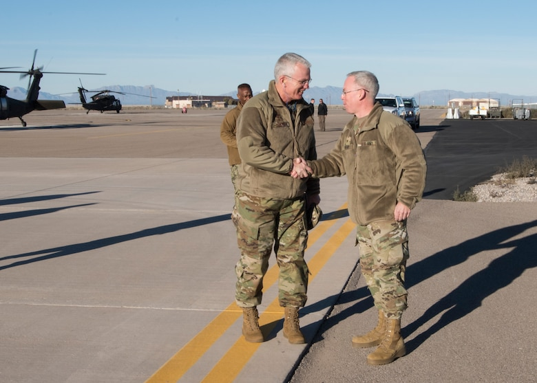 Brig. Gen. Greg Brady, White Sands Missile Range commander, greets Gen. Paul Selva, vice chairman of the Joint Chiefs of Staff, on Holloman Air Force Base, N.M., November 14, 2018. Selva visited Holloman November 13 to 14, and received a helicopter tour of White Sands Missile Range, N.M. (U.S. Air Force photo by Staff Sgt. BreeAnn Sachs).
