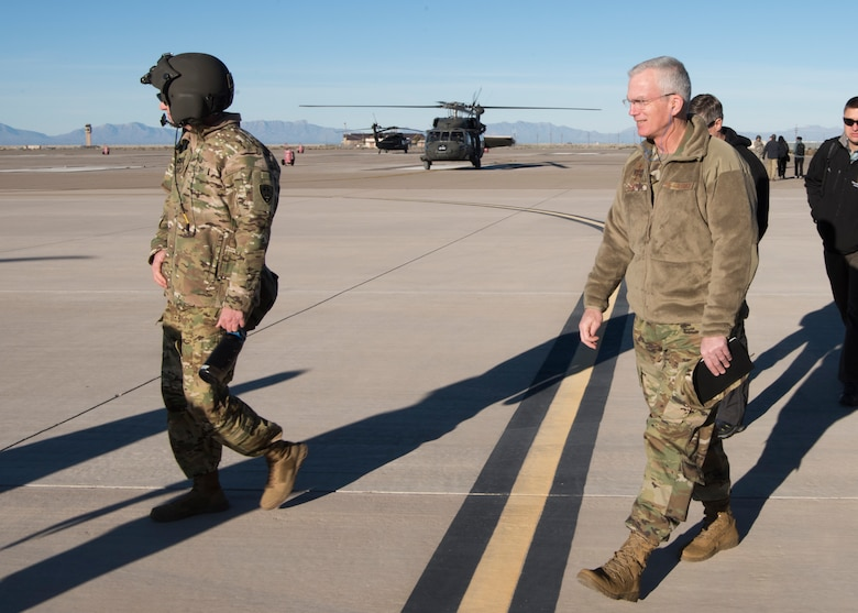 Gen. Paul Selva, vice chairman of the Joint Chiefs of Staff, walks on the flightline, November 14, 2018, on Holloman Air Force Base, N.M. Selva visited Holloman November 13 to 14, and received a helicopter tour of White Sands Missile Range, N.M. (U.S. Air Force photo by Staff Sgt. BreeAnn Sachs).