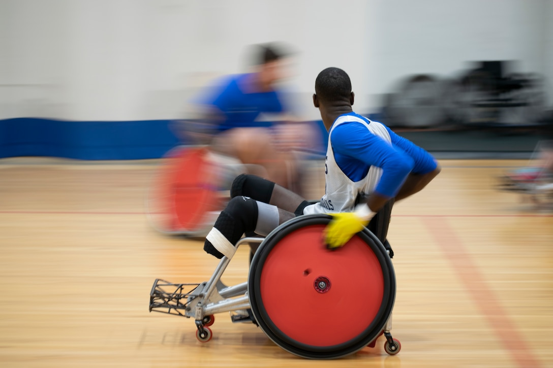 wheelchair rugby practice