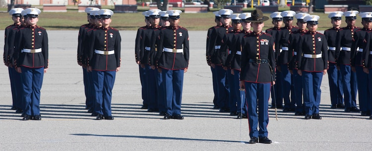 Marines with  November Company, 4th Recruit Training Battalion graduated recruit training on Marine Corps Recruit Depot Parris Island Nov. 16, 2018 in the new female Blue Dress Coat. November Company became the first company at MCRD PI to graduate in the new coat.  (Official U.S. Marine Corps Photo by Lance Cpl. Yamil Casarreal)