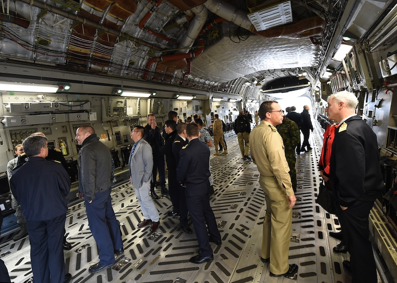 A group of U.S. Naval War College students, comprised of 56 foreign and joint military officers, tour the inside of a C-17 Globemaster III aircraft Nov. 13, 2018, during a visit to Joint Base Charleston, S.C.