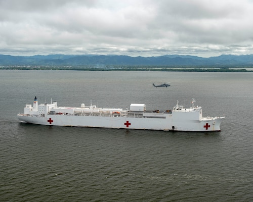 The hospital ship USNS Comfort (T-AH 20) anchors off the coast of Colombia.