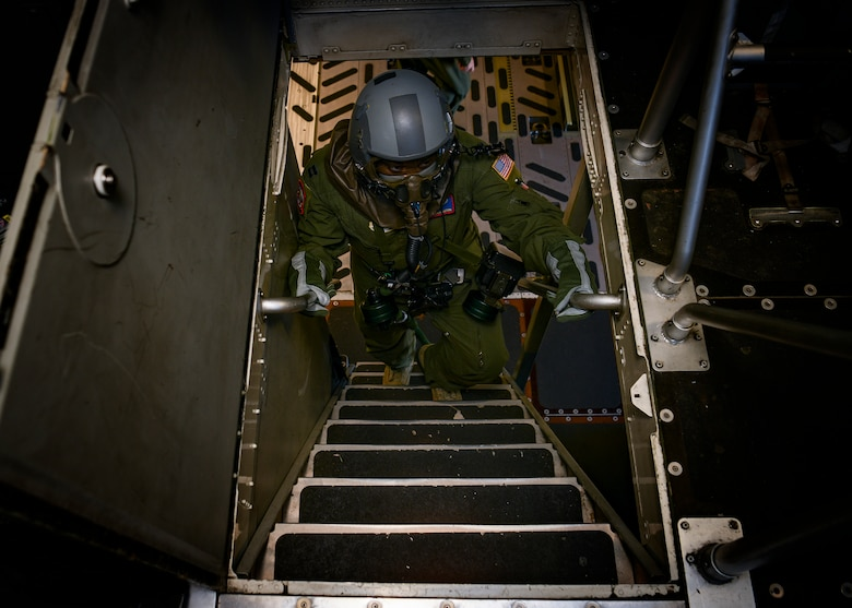 Capt. Richard Brockington, 15th Airlift Squadron pilot, walks up the stairs of a C-17 Globemaster III during a readiness exercise Nov. 16, 2018, at Joint Base Charleston, S.C. To keep the training as realistic as possible, participants from across JB Charleston received the equipment, weapons and specialty uniform items they would use in real-world situations. The simulated scenarios enabled senior base leaders and subject matter experts to ensure the readiness of JB Charleston's quick response capabilities.