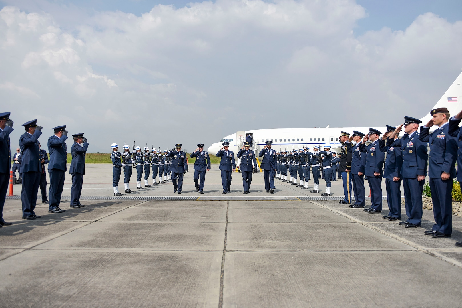 Air Force Chief of Staff Gen. David L. Goldfein is welcomed to Bogota, Colombia, Nov. 14, 2018, by members of the U.S. and Colombian air forces. Regional partnerships like that of the U.S. and Colombia reflect an enduring promise of a cooperative, prosperous and secure hemisphere. (U.S. Air Force photo by Tech Sgt. Anthony Nelson Jr.)