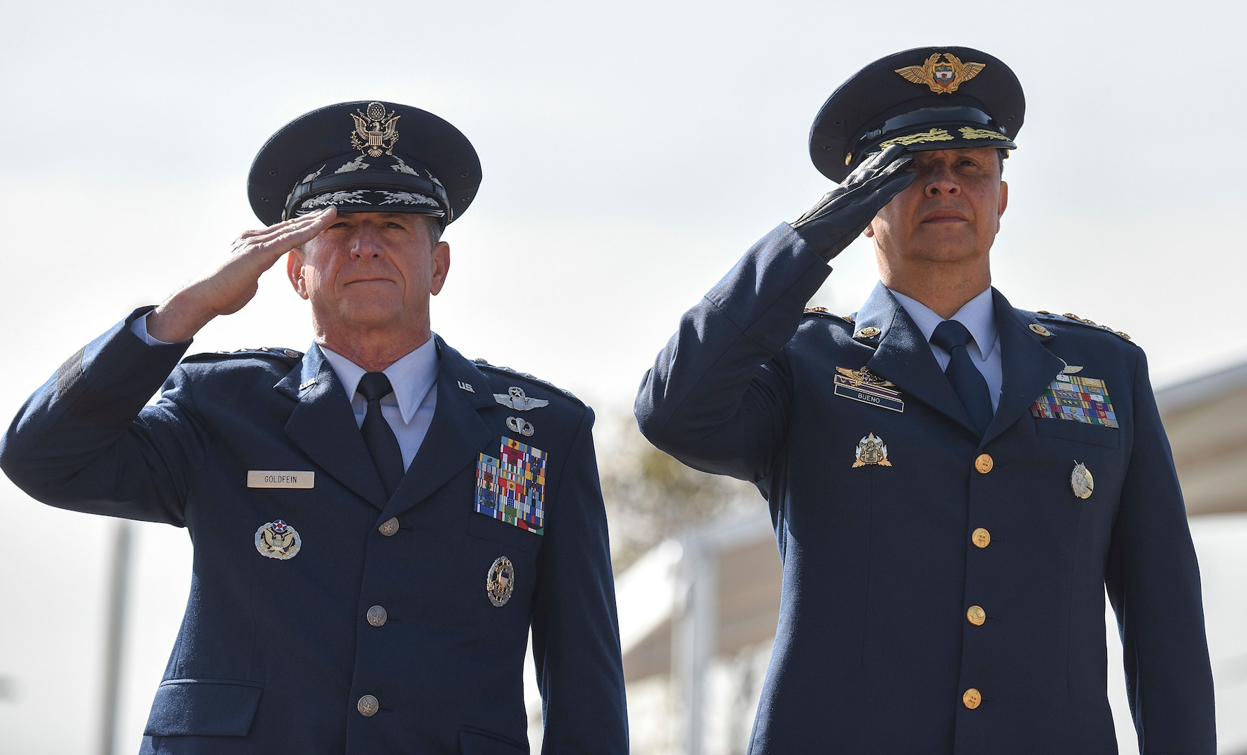 Air Force Chief of Staff Gen. David L. Goldfein and Commander of the Colombian Air Force General Carlos Eduardo Bueno Vargas salute during the Memorial Heroes Caidos en Combate in Bogota, Colombia, Nov. 15, 2018. Goldfein's visit to the country and U.S. engagement in the region reflect the enduring promise of friendship, partnership and solidarity between the Americas. (U.S. Air Force photo by Tech Sgt. Anthony Nelson Jr.)