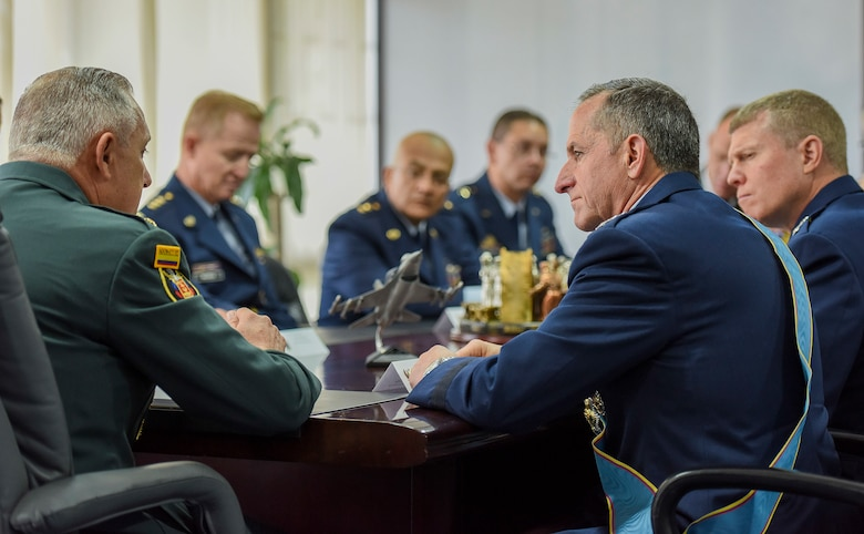 Commander of the Colombian Armed Forces General Alberto José Mejía expresses thanks and support to Air Force Chief of Staff Gen. David L. Goldfein during a meeting between Colombian and U.S. military leaders in Bogota, Colombia, Nov. 15, 2018. By working together with partner nations and regional leaders, the U.S. will achieve effective solutions to common challenges. (U.S. Air Force photo by Tech Sgt. Anthony Nelson Jr.)
