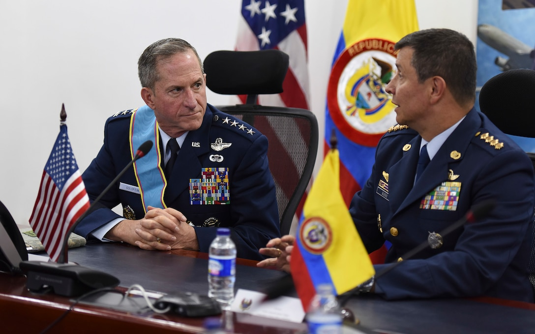Commander of the Colombian Air Force General Carlos Eduardo Bueno Vargas briefs Air Force Chief of Staff Gen. David L. Goldfein on capabilities and common interests between the countries' air forces, in Bogota, Colombia, Nov. 15, 2018. Regional partnerships like that of the U.S. and Colombia reflect an enduring promise of a cooperative, prosperous and secure hemisphere. (U.S. Air Force photo by Tech Sgt. Anthony Nelson Jr.)