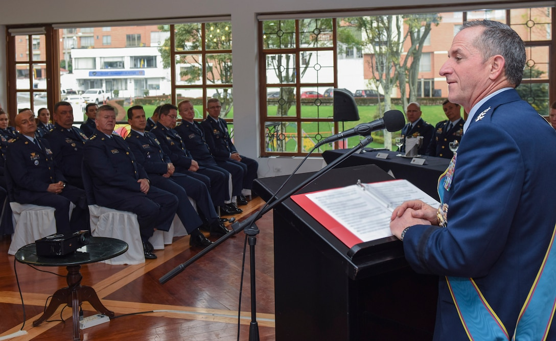 Air Force Chief of Staff Gen. David L. Goldfein addresses Colombian Air Force War College students at the Canton Norte in Bogota, Colombia, Nov. 15, 2018. Goldfein's visit to the country and U.S. engagement in the region reflect the enduring promise of friendship, partnership and solidarity within the Americas. (U.S. Air Force photo by Tech Sgt. Anthony Nelson Jr.)