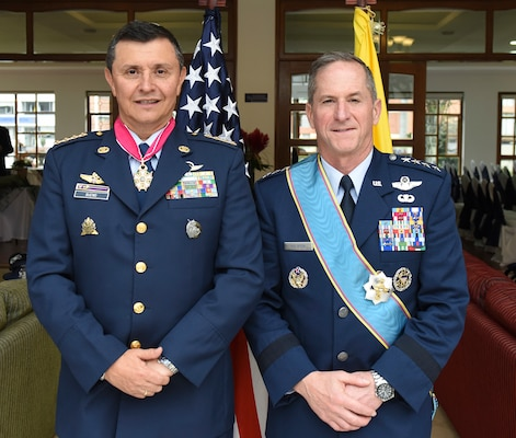 Air Force Chief of Staff Gen. David L. Goldfein and Commander of the Colombian Air Force General Carlos Eduardo Bueno Vargas pose for a photo in Bogota, Colombia, Nov. 15, 2018. In 1822, the United States became one of the first countries to recognize the republic of Colombia and to establish a resident diplomatic mission in the country. Goldfein's visit to the country and U.S. engagement in the region reflect the enduring promise of friendship, partnership and solidarity between the Americas. (U.S. Air Force photo by Tech Sgt. Anthony Nelson Jr.)