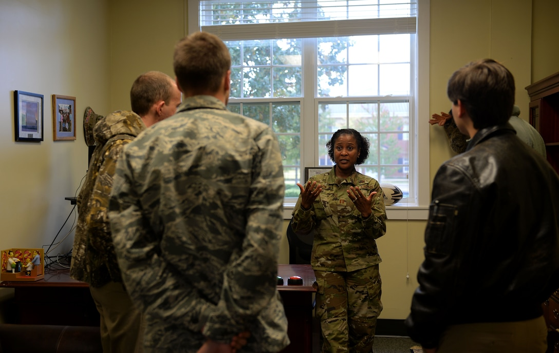 Capt. Tara Dixon, Columbus Air Force Base chaplain, talks with Mississippi State University Air Force ROTC cadets Nov. 9, 2018, at the BLAZE Chapel on Columbus Air Force Base, Mississippi. Cadets were allowed to explore their primary career goals in the Air Force, but were highly encouraged to check out the other fields available to them. (U.S. Air Force photo by Airman Hannah Bean)