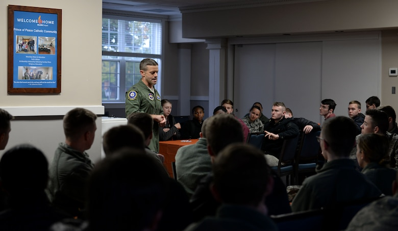 Col. William Denham, 14th Flying Training Wing vice wing commander, talks with Mississippi State University Air Force ROTC cadets Nov. 9, 2018, at the BLAZE Chapel on Columbus Air Force Base, Mississippi. Denham thanked the students for visiting Columbus AFB, adding that whatever career they decide to join, there will be incredible opportunities for them while executing the mission of the greatest Air Force in the world. (U.S. Air Force photo by Airman Hannah Bean)