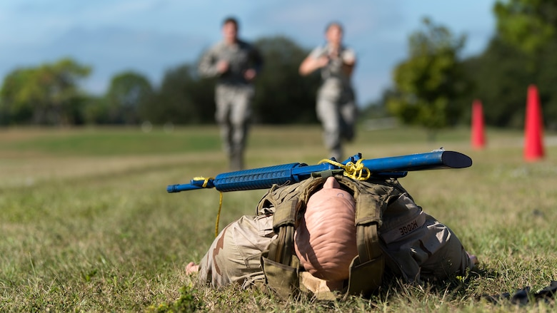 Service members from MacDill Air Force Base, Fla., participate in a joint-service Tactical Combat Casualty Care course Nov 14-16, 2018. TCCC is designed to reduce preventable combat deaths by teaching life-saving trauma care techniques used on the battlefield.
