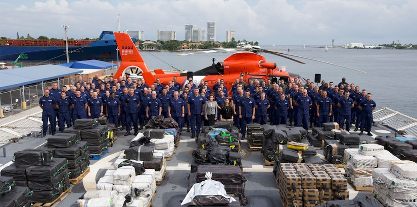 Pictured is the Coast Guard Cutter James (WMSL-754) crew.