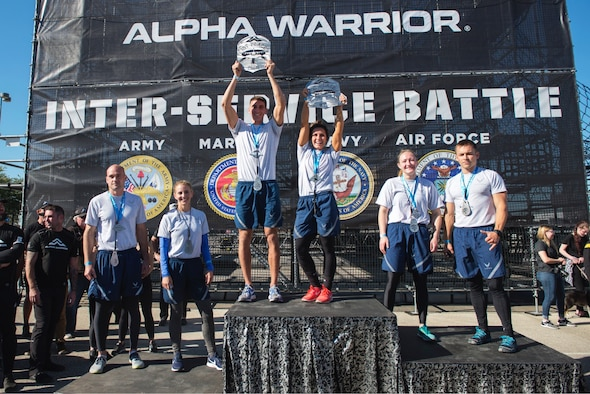 Winners from the 2018 Air Force Alpha Warrior Final Battle pose for photos during the awards ceremony, Friday, November 16, 2018 at the Alpha Warrior Proving Grounds, Retama Park, Selma, Texas.