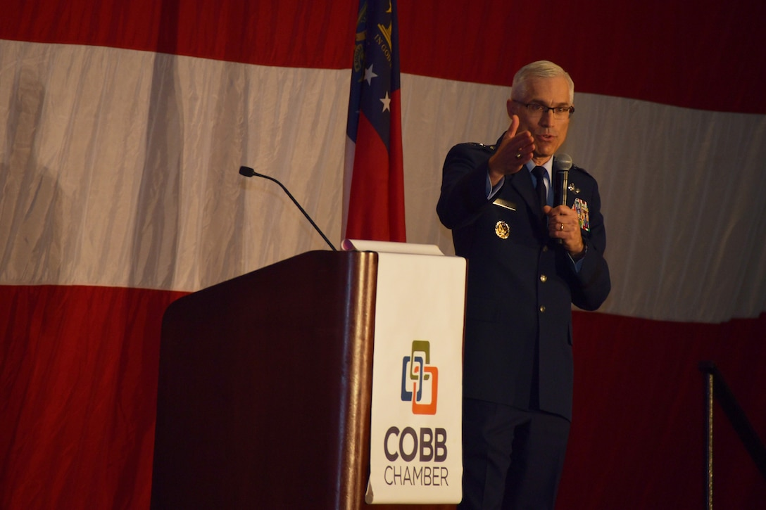 22nd AF commander highlights community, innovation during ARMAC military luncheon