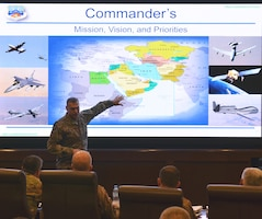 Wing leadership from across the area of responsibility attended the AFCENT Commanders Conference at Al Udeid Air Base, Qatar November 7, 2018. Lt. Gen. Joseph Guastella, U.S. Air Forces Central Command commander, spoke to the assembled group outlining his mission, vision and lines of effort. (U.S. Air Force photo by Senior Airman Travis Beihl)