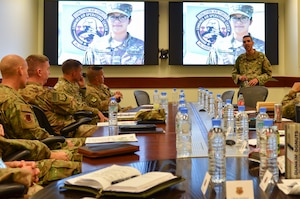 Chief Master Sgt. Shawn L. Drinkard, U.S. Air Forces Central Command command chief, briefs leaders during the AFCENT Commander's Conference at Al Udeid Air Base, Qatar November 7, 2018. Drinkard spoke to the importance of an empowered NCO corps to achieve mission success in AFCENT's 20-nation AOR spanning Central and Southwest Asia. (U.S. Air Force photo by Senior Airman Travis Beihl)