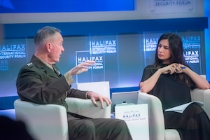 Marine Corps Gen. Joe Dunford, chairman of the Joint Chiefs of Staff, is interviewed by BBC World News correspondent Yalda Hakim in Canada during the Halifax International Security Forum.