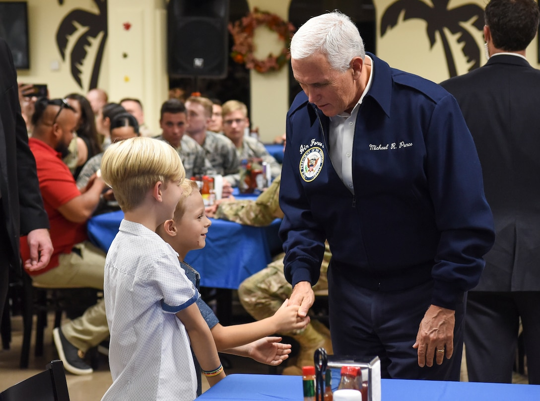 Vice President of the United States Michael Pence speaks to service members and their families Nov. 18, 2018, at Andersen Air Force Base, Guam. The Vice President and his wife Karen visited the base to meet with Airmen and their families before the holidays. (U.S. Air Force photo by Senior Airman Christopher Quail)