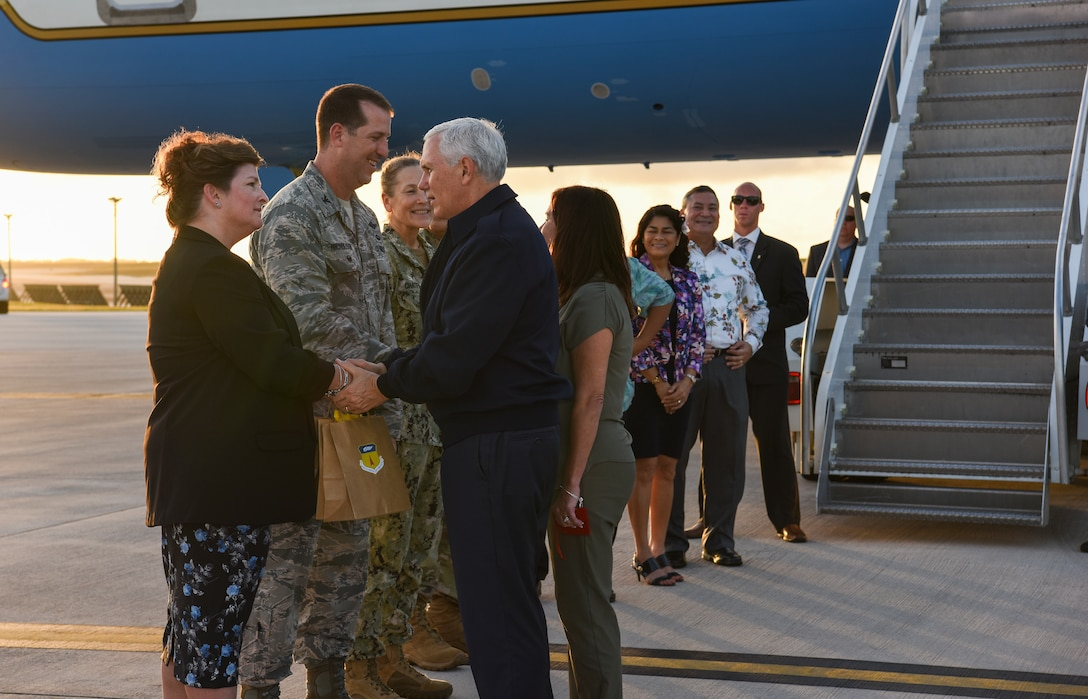 Vice President of the United States Michael Pence greets base leadership Nov. 18, 2018, at Andersen Air Force Base, Guam. The Vice President and his wife Karen visited the base to meet with Airmen and their families before the holidays. (U.S. Air Force photo by Senior Airman Christopher Quail)