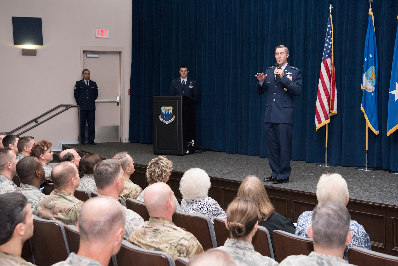 """Maj. Gen. Ronald """"Bruce"""" Miller, 10th Air Force commander, addresses the crowd during a ceremony over which he presided, activating the 960th Cyberspace Wing."""