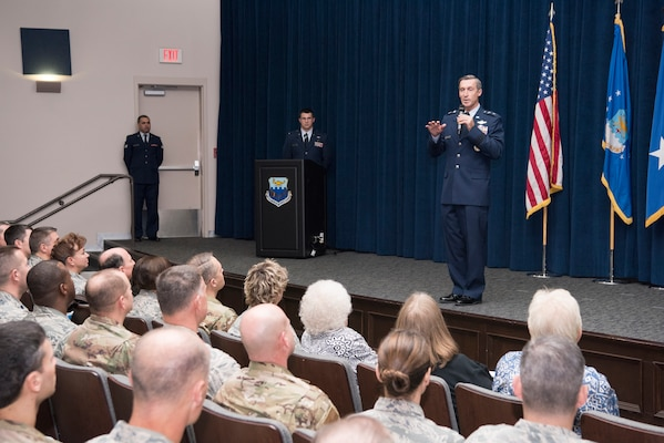 "Maj. Gen. Ronald ""Bruce"" Miller, 10th Air Force commander, addresses the crowd during a ceremony over which he presided, activating the 960th Cyberspace Wing."