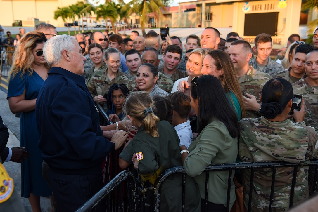 Vice President of the United States Michael Pence greets service members and their families Nov. 18, 2018, at Andersen Air Force Base, Guam. The Vice President and his wife Karen visited the base to meet with Airmen and their families before the holidays. (U.S. Air Force photo by Senior Airman Christopher Quail)